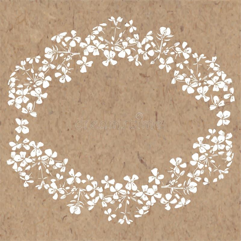 Blom- bakgrund med abstrakt begrepp blommar på kraft papper Hand-dra royaltyfri illustrationer