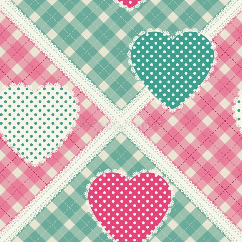 Blom- bakgrund med dekorativa patchworkhjärtor Påskvektormodell för kudde, kudde, bandanna, siden- sjalett och sjal f vektor illustrationer