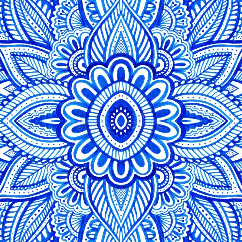 Blom- bakgrund med det blåa paisley motivet stock illustrationer