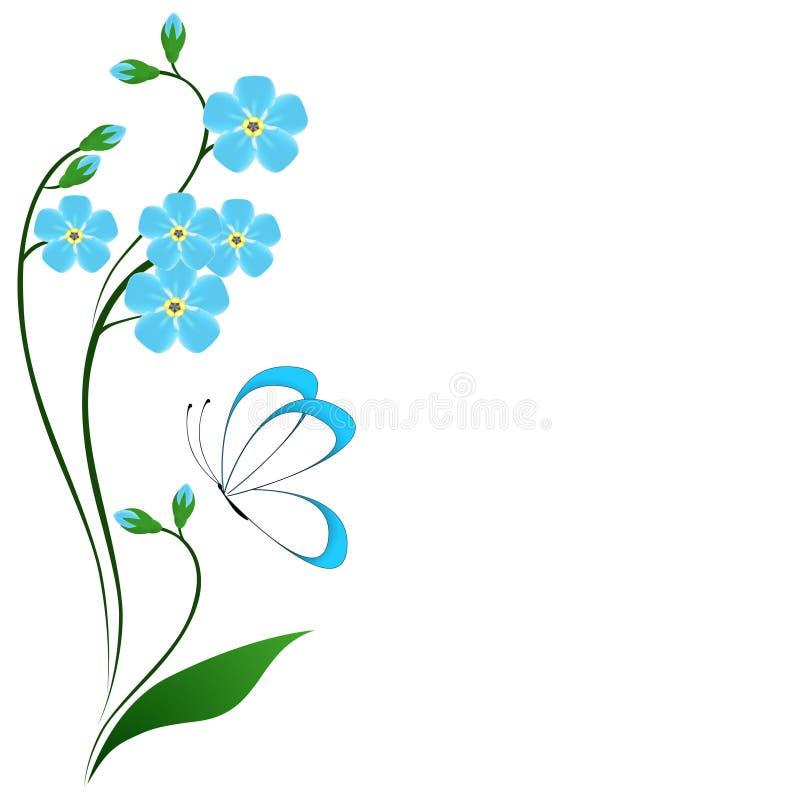 Blom- bakgrund med glömmer mig inte och fjärilen royaltyfri illustrationer