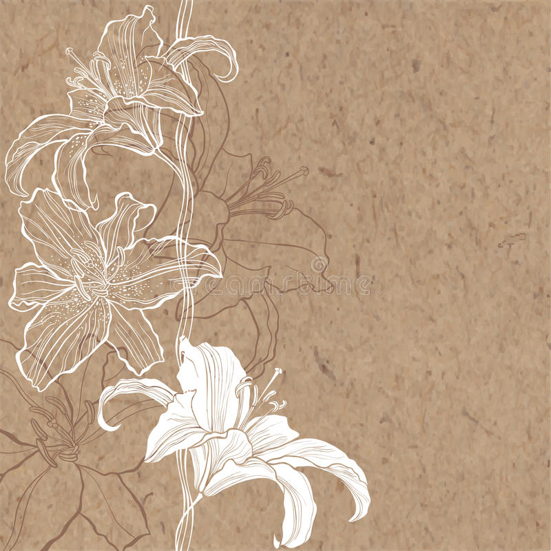 Blom- bakgrund med liljan på kraft papper Vara kan hälsningkortet vektor illustrationer