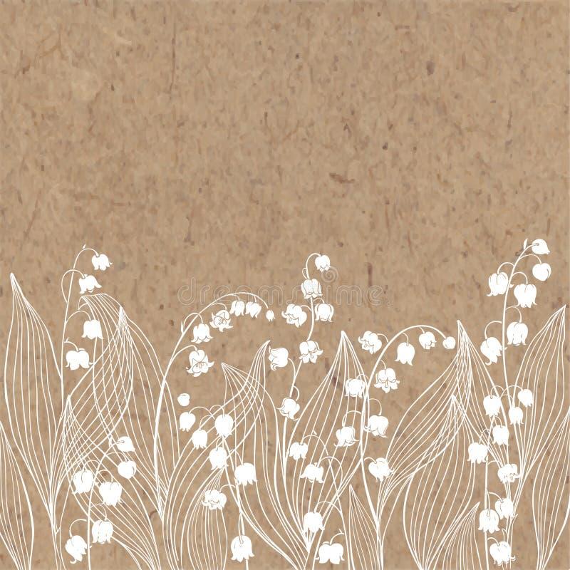 Blom- bakgrund med liljekonvaljen och ställe för text Vektorillustration på ett kraft papper royaltyfri illustrationer