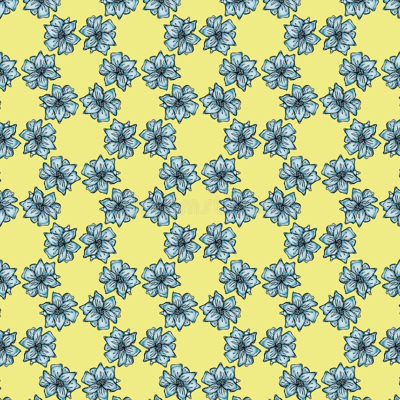 Blom- bakgrund med ljus - blåa blommor av liljan på gul bakgrund stock illustrationer