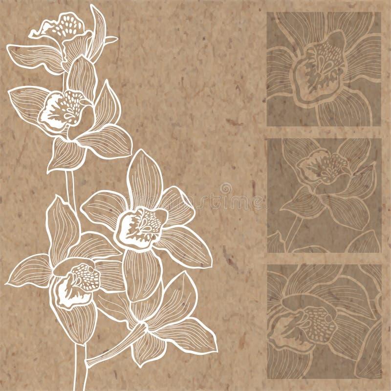 Blom- bakgrund med orkidér på kraft papper Kan hälsa c stock illustrationer