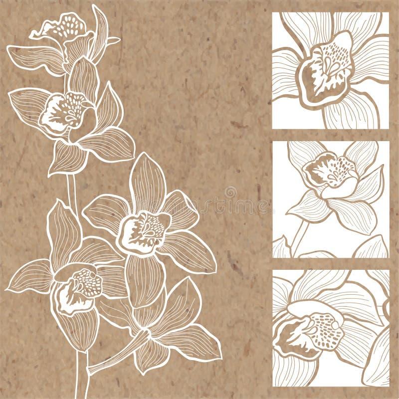 Blom- bakgrund med orkidér på kraft papper Kan hälsa c vektor illustrationer