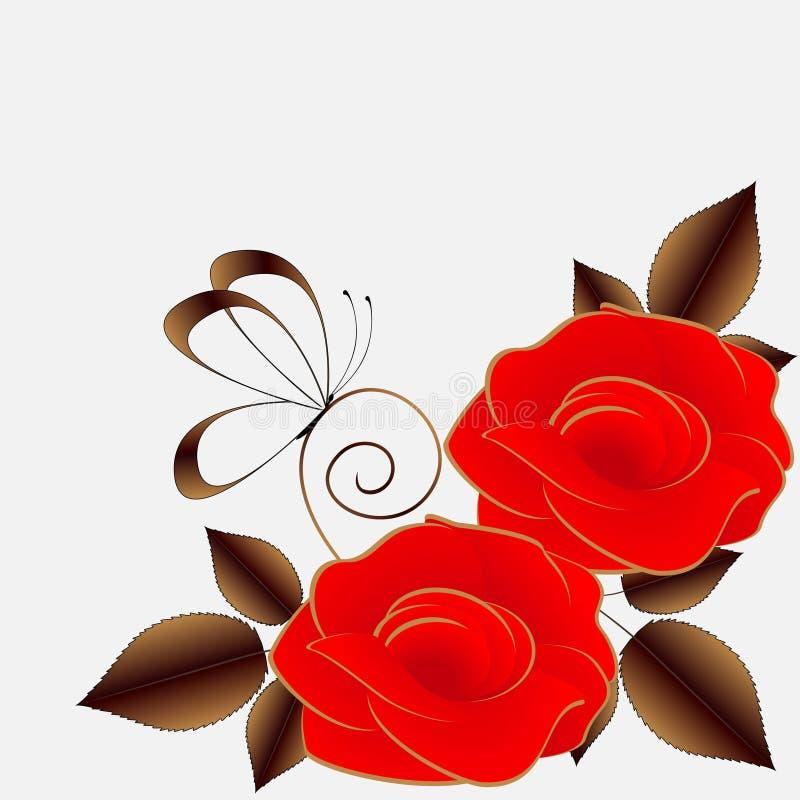 Blom- bakgrund med röda rosor och fjärilen stock illustrationer