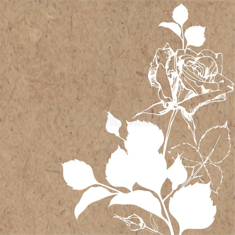 Blom- bakgrund med steg på kraft papper Vara kan hälsningkortet royaltyfri illustrationer