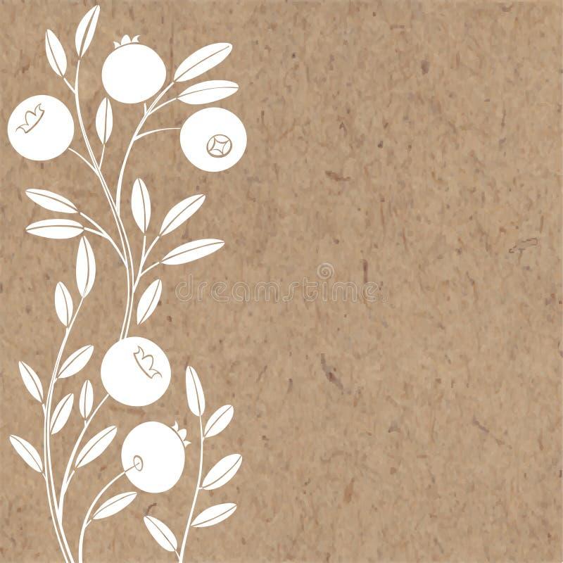 Blom- bakgrund med tranbäret och ställe för text Vektorillustration på ett kraft papper royaltyfri illustrationer