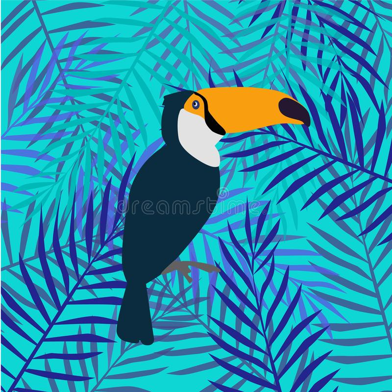 Blom- bakgrund med tropiska sidor och tukan vektor illustrationer