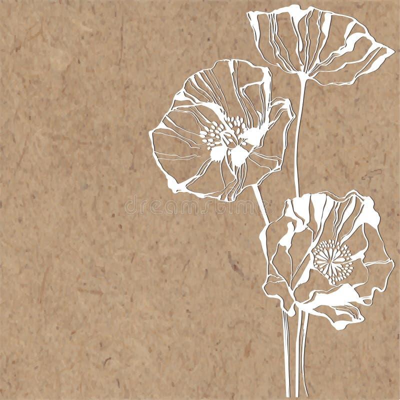 Blom- bakgrund med vallmo på kraft papper Kan hälsa c vektor illustrationer