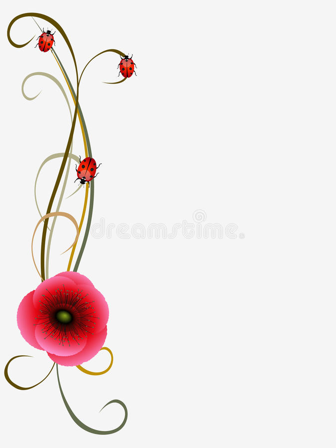 Blom- bakgrund med vallmofrön och nyckelpigor, designbeståndsdel stock illustrationer