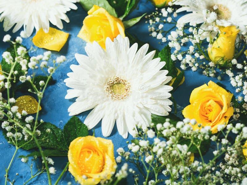Blom- bakgrund på blått arkivfoton