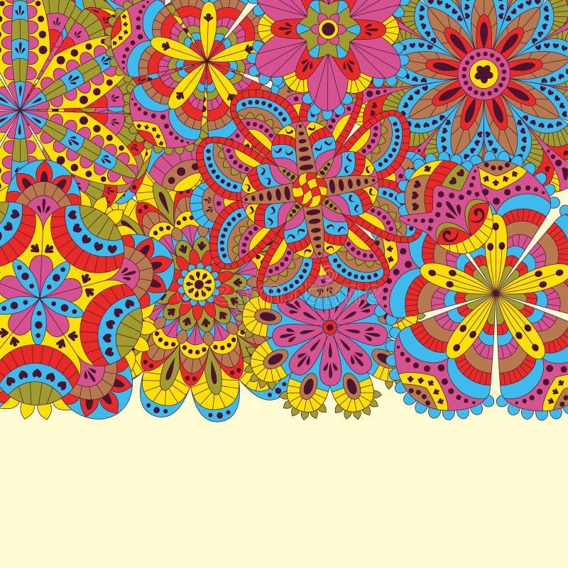 Blom- bakgrund som göras av många mandalas Goda för bröllop, inbjudankort, födelsedagar, etc. Idérik hand drog beståndsdelar vekt royaltyfri illustrationer