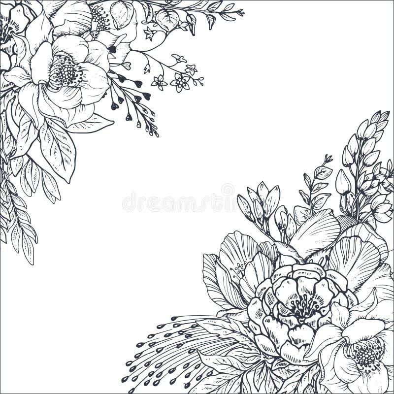 Blom- bakgrunder med den drog handen blommar och växter stock illustrationer