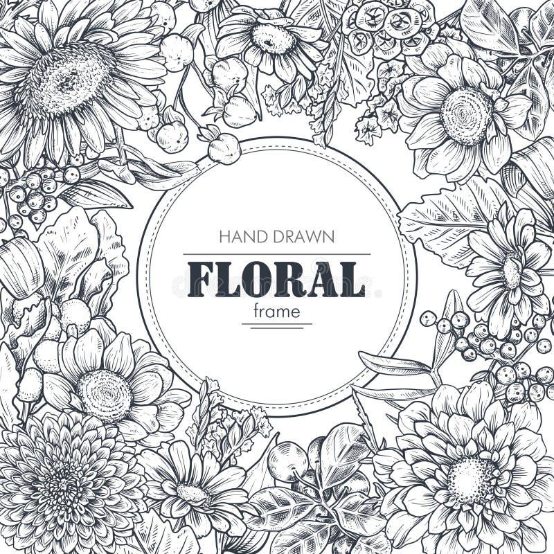 Blom- bakgrunder med den drog handen blommar och v?xter royaltyfri illustrationer