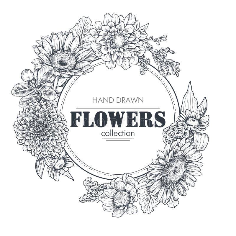 Blom- bakgrunder med den drog handen blommar och v?xter vektor illustrationer