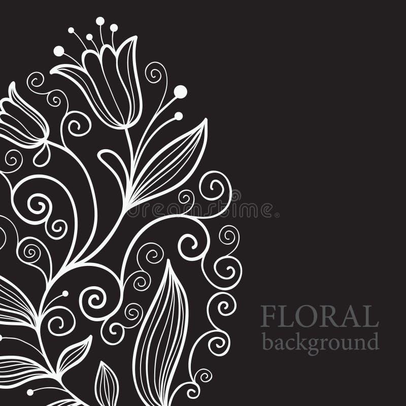 blom- bakgrundsbalck royaltyfri illustrationer