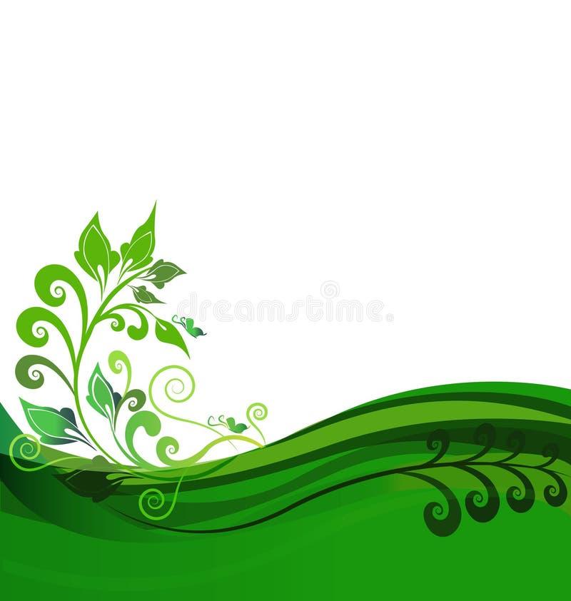 Grön blom- bakgrundsdesign vektor illustrationer