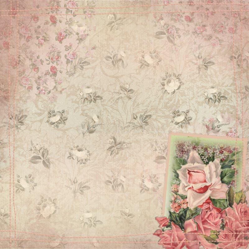 Blom- bakgrundstextur för tappning - sjaskiga chic rosor med att sy royaltyfri illustrationer