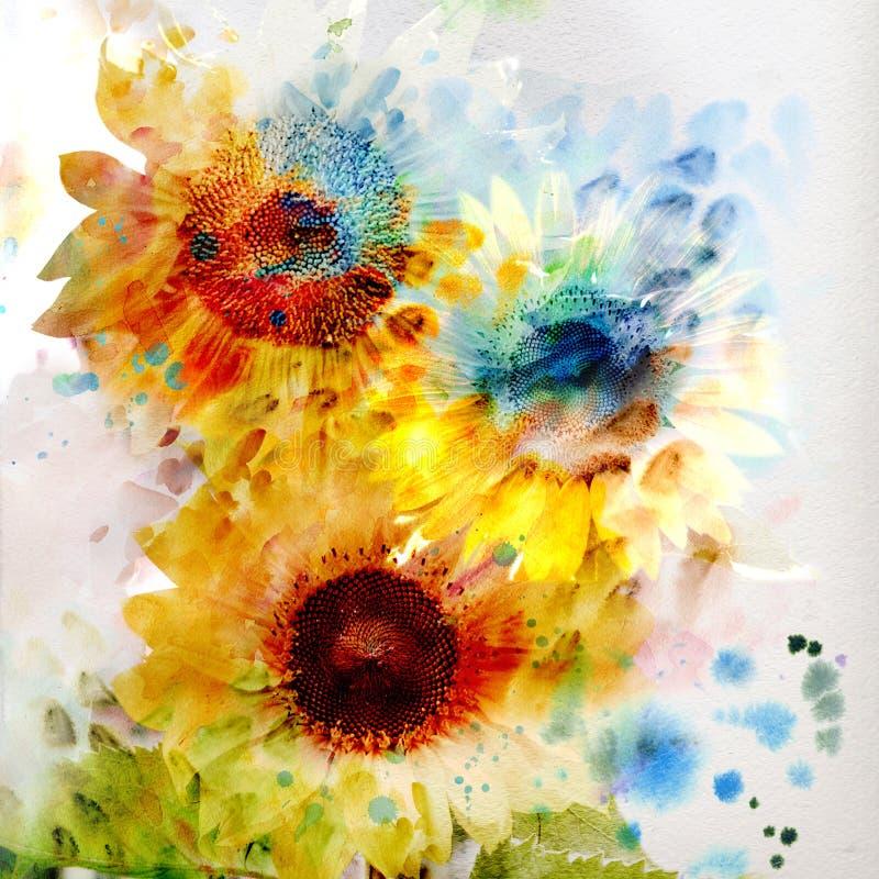 Blom- bakgrundsvattenfärgsolrosor royaltyfri illustrationer