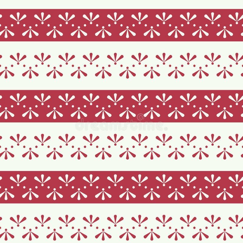 Blom- band för vektorfolklore med röd sömlös modellbakgrund stock illustrationer