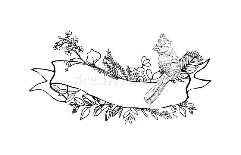 Blom- bandbaner Hand drog blom- baner för vektortappning Skissa färgpulverillustrationen Baner med sidor, blommor och fåglar stock illustrationer