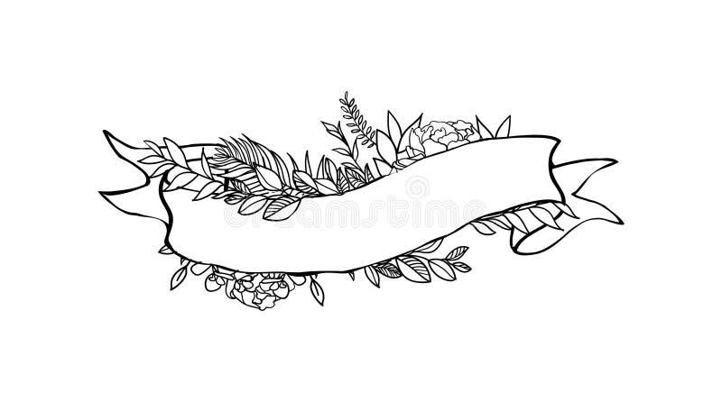 Blom- bandbaner Hand drog blom- baner för vektortappning Skissa färgpulverillustrationen Baner med sidor, blommor och fåglar royaltyfri illustrationer