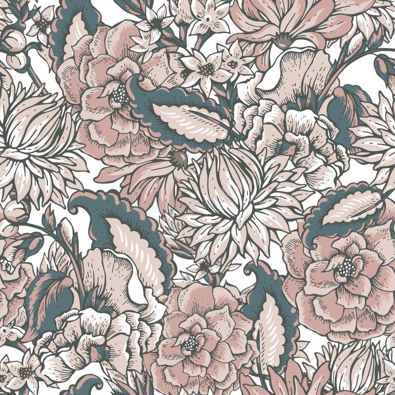 Blom- barock sömlös modell för tappning royaltyfri illustrationer