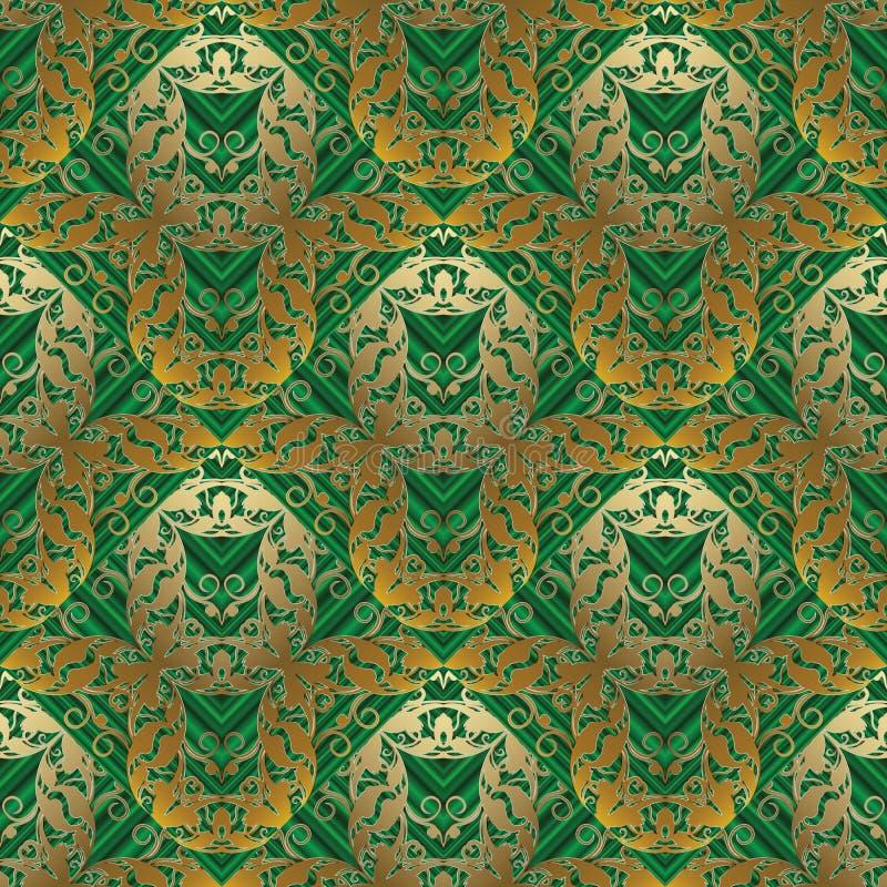 Blom- barock sömlös modell Randig backgrou för grönt abstrakt begrepp vektor illustrationer