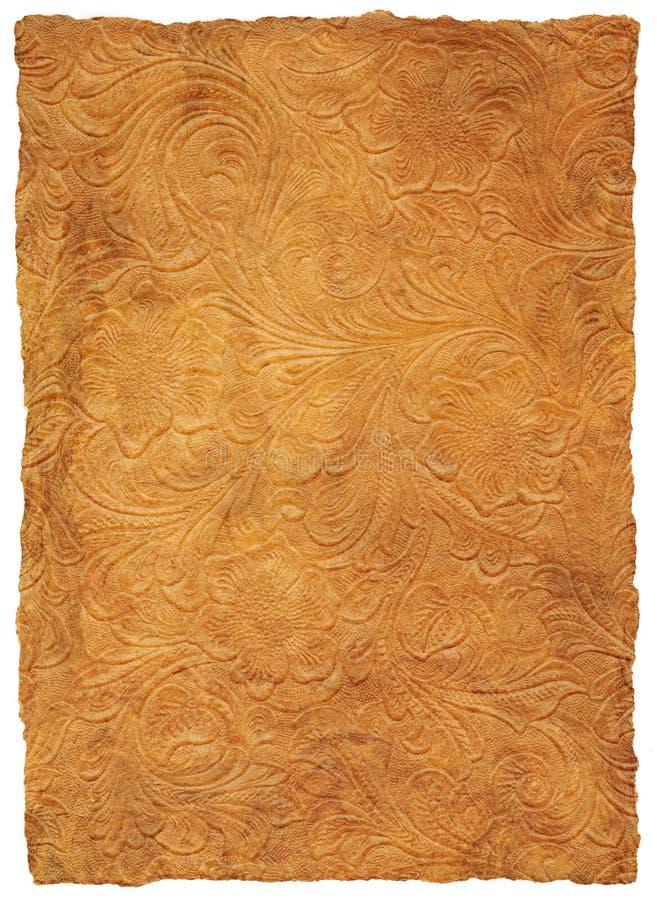blom- bearbetad läderscroll arkivbild