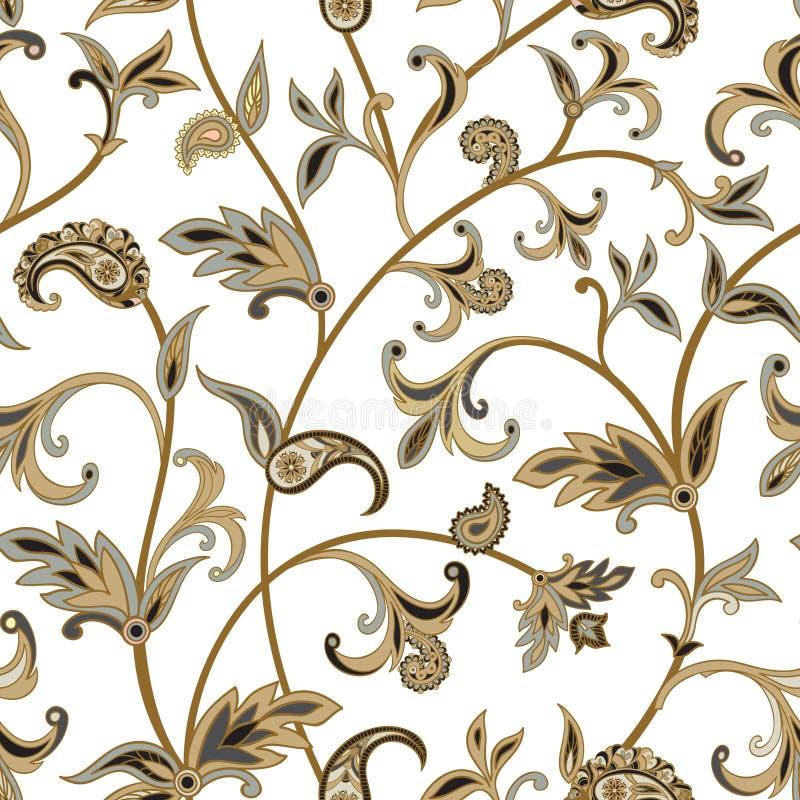Blom- belagd med tegel modell Orientalisk bakgrund för krusidull Prydnadwi royaltyfri illustrationer
