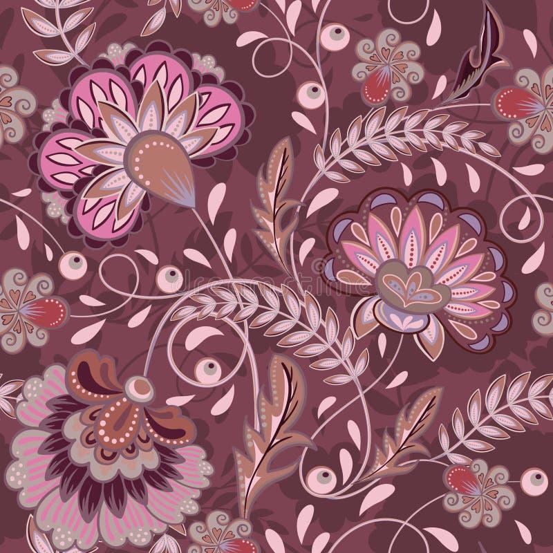 Blom- belagd med tegel orientalisk etnisk bakgrund för modell krusidull stock illustrationer