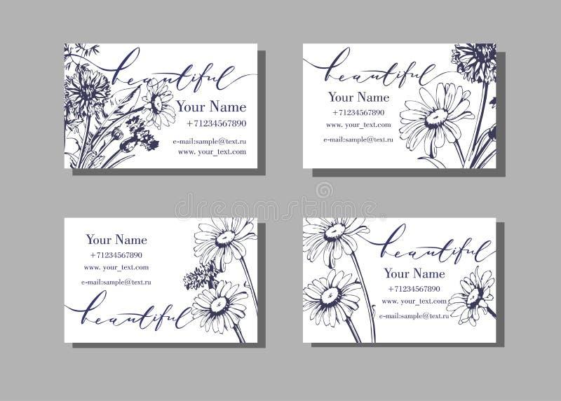 Blom- besöka eller affärskortmall som blommar lösa blommor, tusenskönor, blåklinter, gräs vektor royaltyfri illustrationer
