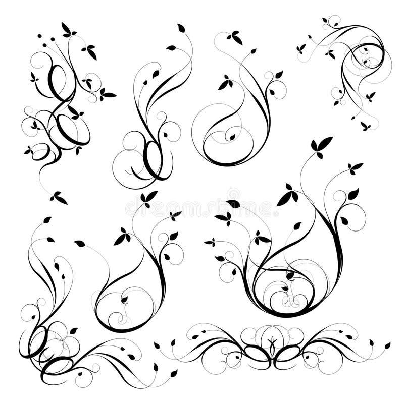 Blom- beståndsdelar för dekorativ design stock illustrationer