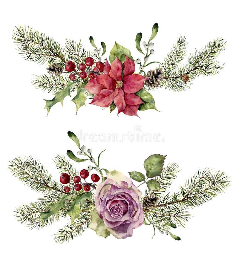 Blom- beståndsdelar för vattenfärgvinter som isoleras på vit bakgrund Tappningstiluppsättningen med julträdfilialer, steg stock illustrationer
