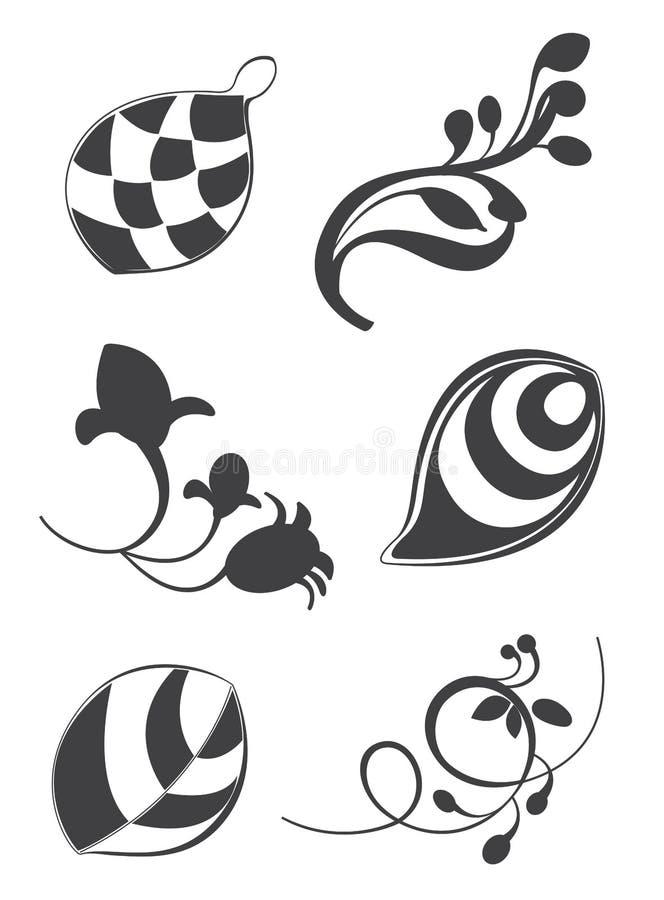 Blom- beståndsdelar i olika stilar för prydnad och garnering vektor illustrationer