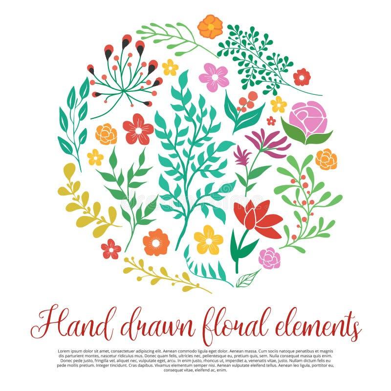 Blom- beståndsdelsamling stock illustrationer