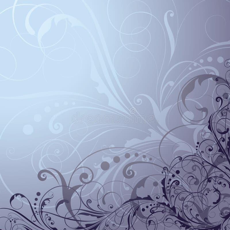 Blom- blå bakgrund royaltyfri illustrationer