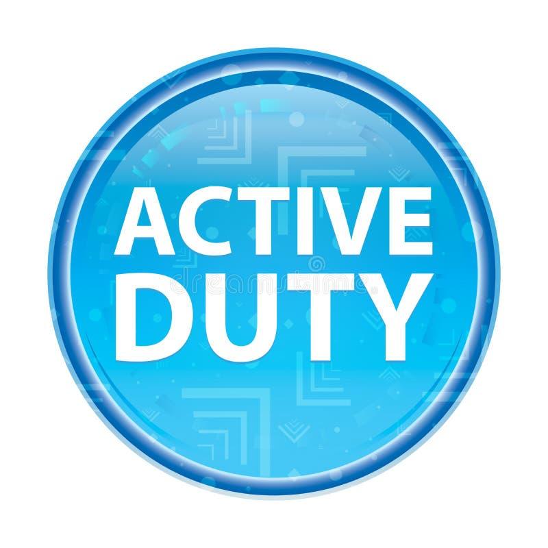 Blom- blå rund knapp för aktiv arbetsuppgift royaltyfri illustrationer