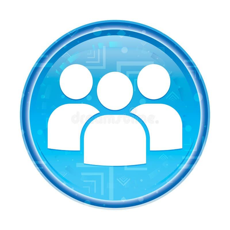 Blom- blå rund knapp för användargruppsymbol vektor illustrationer