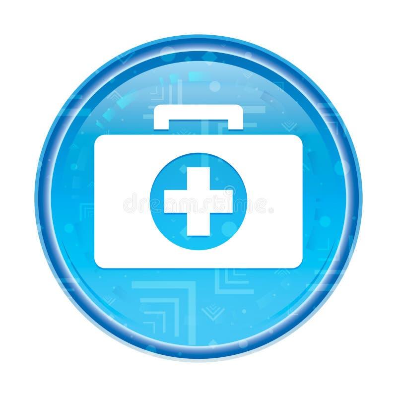 Blom- blå rund knapp för första hjälpensatssymbol stock illustrationer
