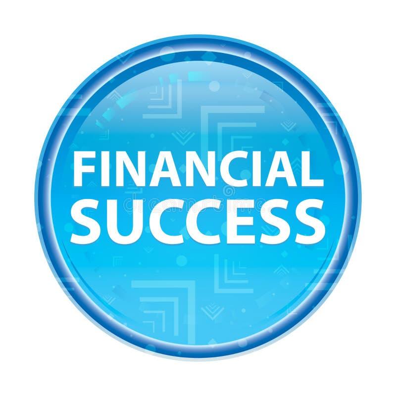 Blom- blå rund knapp för finansiell framgång stock illustrationer