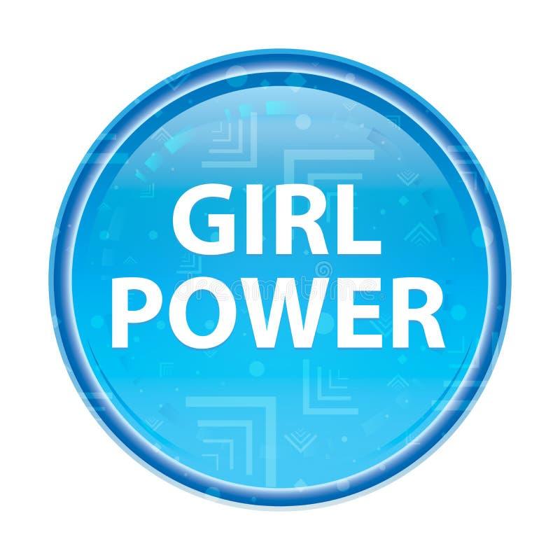 Blom- blå rund knapp för flickamakt vektor illustrationer