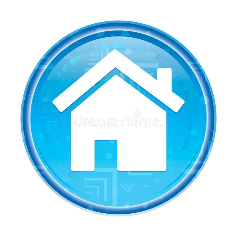 Blom- blå rund knapp för hem- symbol royaltyfri illustrationer