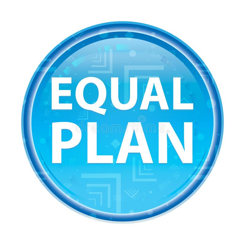 Blom- blå rund knapp för jämlikeplan stock illustrationer
