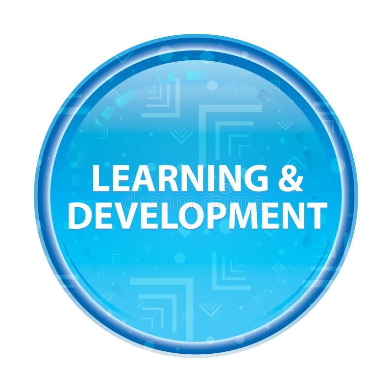 Blom- blå rund knapp för lära & för utveckling stock illustrationer