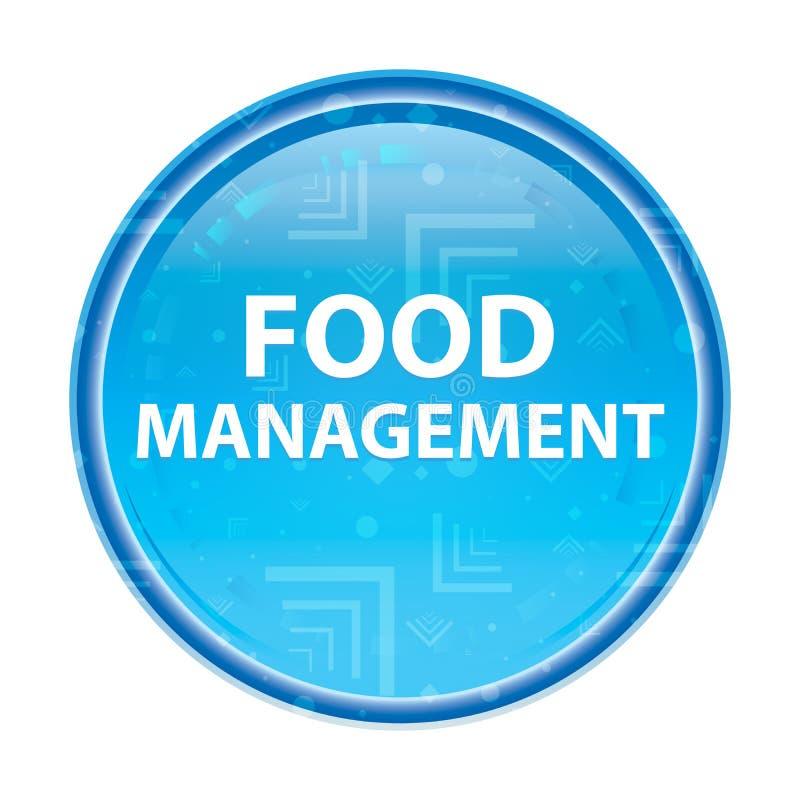 Blom- blå rund knapp för matledning royaltyfri illustrationer