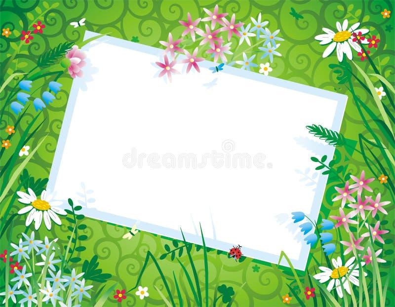 blom- blankt kort för bakgrund royaltyfri illustrationer