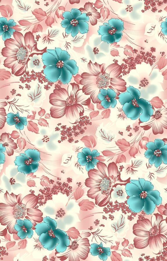 Blom- blommabakgrund för sömlös tappning stock illustrationer
