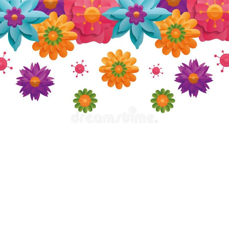 Blom- blommor för gräns stock illustrationer